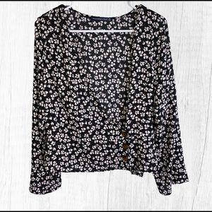 Abercrombie & Fitch Floral Black Blouse Medium